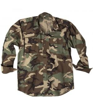 Рубашка MIL-TEC с д/рукавами - US Woodland