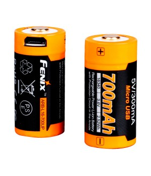 Аккумулятор 16340 FENIX ARB-L16 700U, с USB-портом, 700mAh